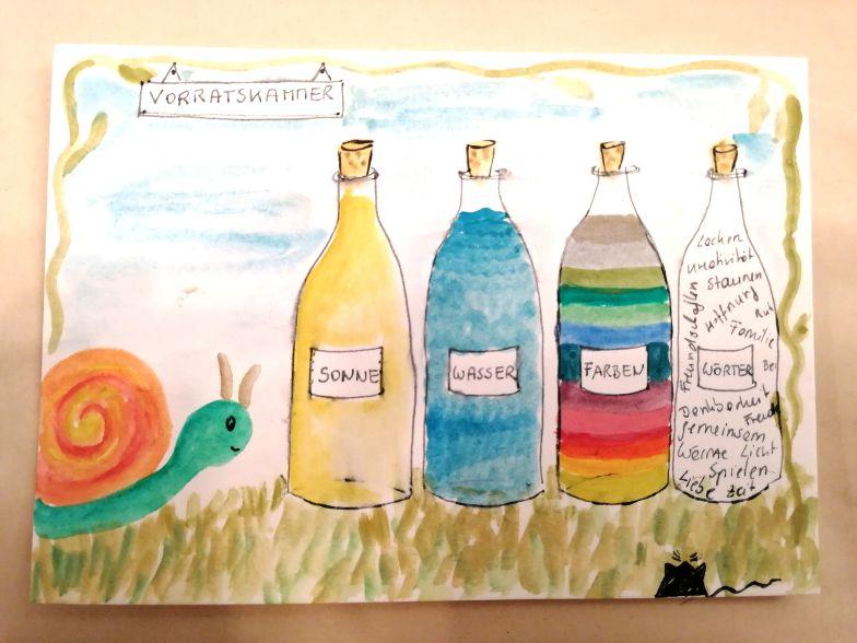 Schnecken-Post-Kunst: Farben sammeln